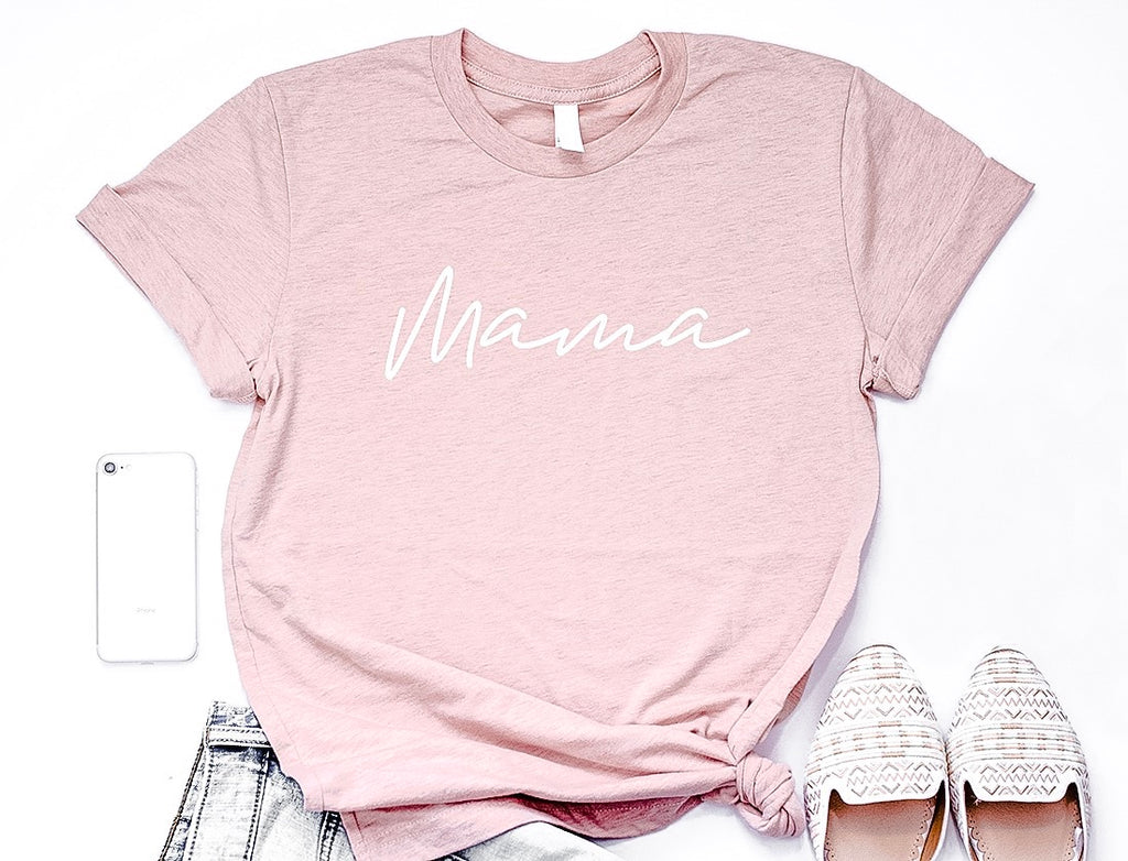 "Size XL - ""Mama"" Ladies Heather Peach Unisex Crewneck T-Shirt"