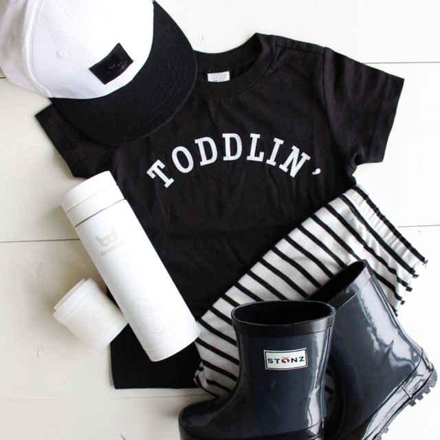 """Toddlin'"" Child T-Shirt Black - Size 18 Months"