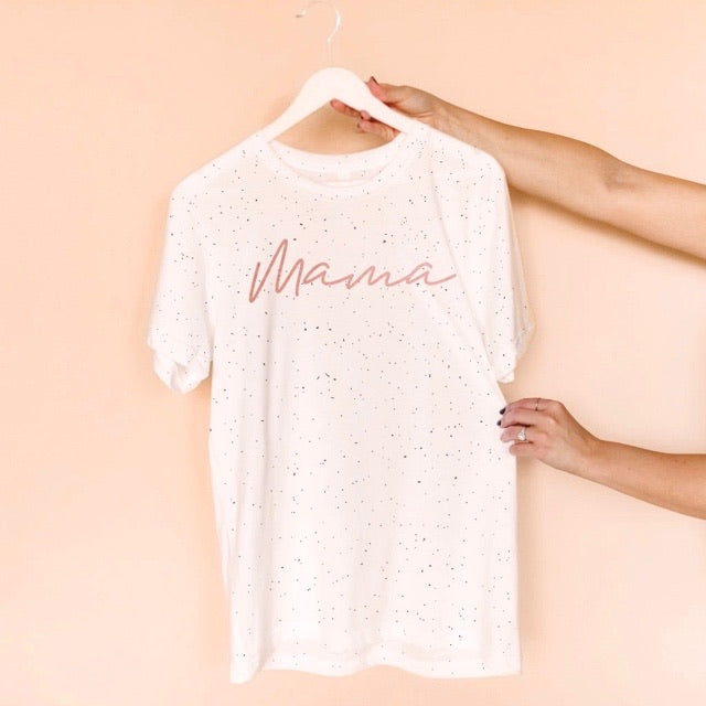 "Rose Gold ""Mama"" White Speckle Unisex Crewneck T-Shirt - Small"