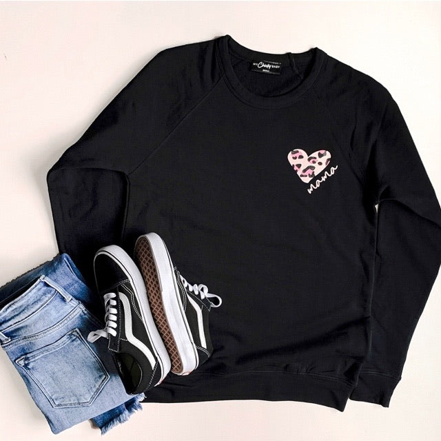 """Mama"" Leopard Heart Adult Ladies Black Crewneck Sweatshirt"