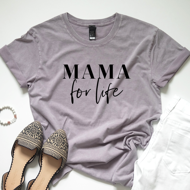 """Mama for Life"" Ladies Mauve Mineral Wash Crewneck T-Shirt - Size Large and XL Only"