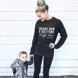 Messy Bun and Getting Stuff Done Ladies Dark Grey Crewneck Sweatshirt