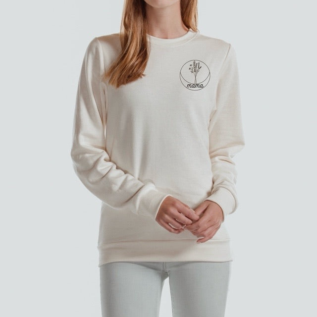 Mama Floral Circle - Ladies Ivory Cream Crewneck Sweatshirt