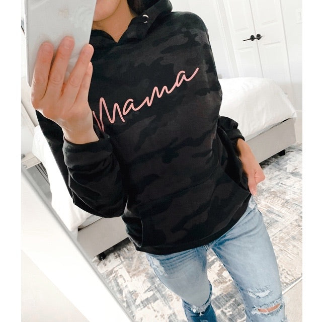 Rose Gold Mama - Adult Black Camo Hoodie Sweatshirt - Size Large