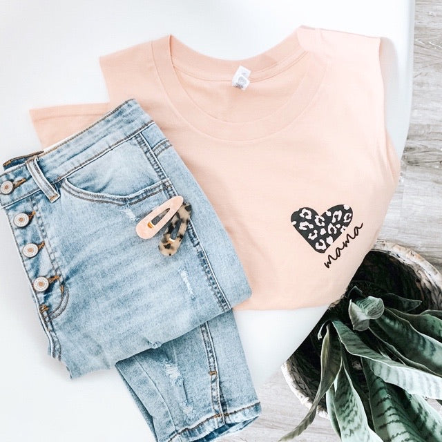 """Mama"" Leopard Heart Peach Muscle Tank Top"