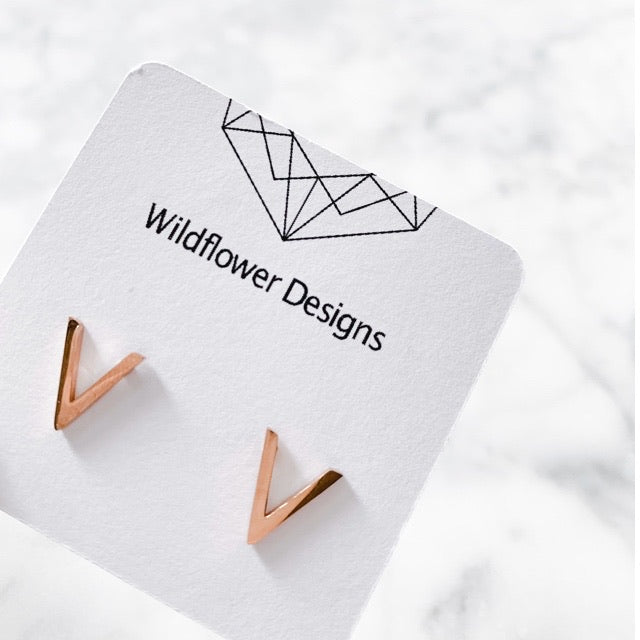 Stainless Steel Rose Gold V Shape Stud Earrings