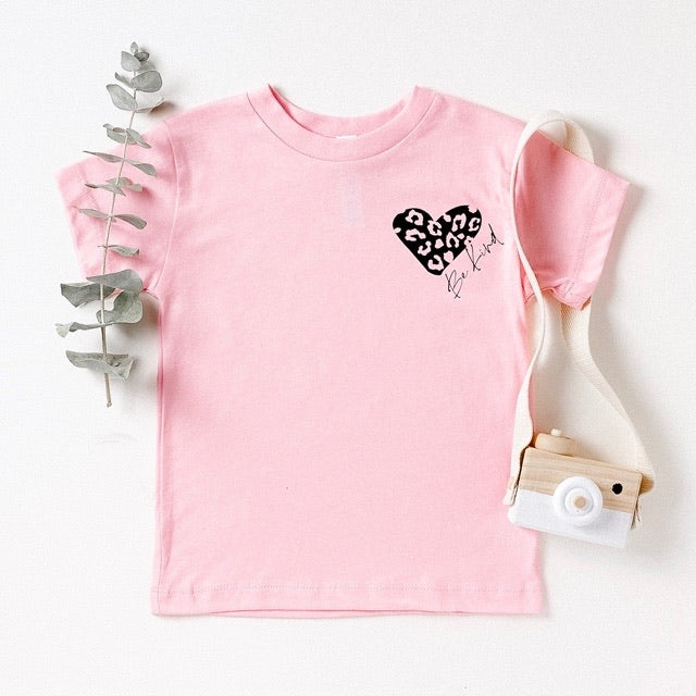 """Be Kind"" Leopard Heart Pink Child T-Shirt"