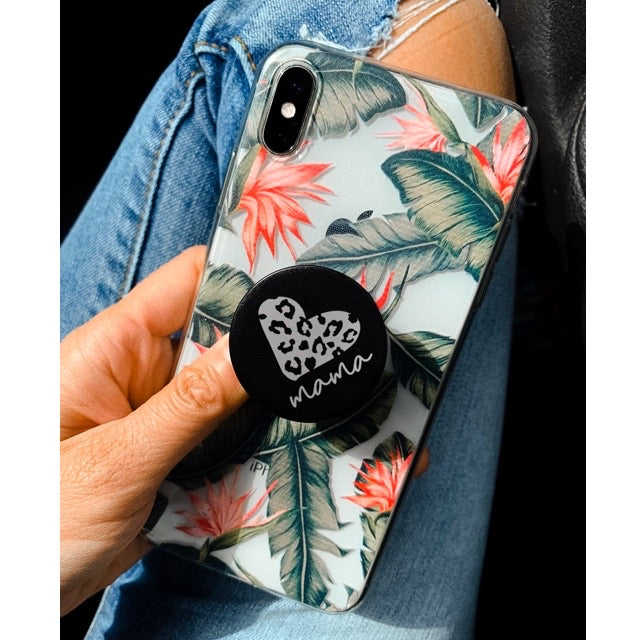 Mama Leopard Heart - Pop Socket Collapsible Phone Grip and Stand