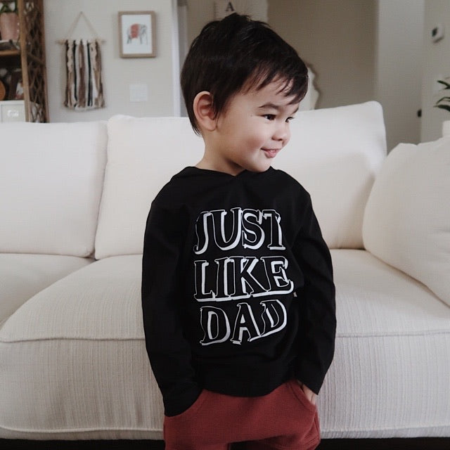 """Just Like Dad"" Black Child Long Sleeve Hoodie Shirt"