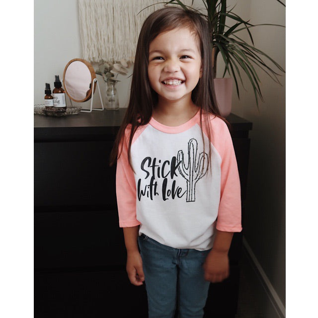 Stick with Love - Coral Pink and White Child Raglan