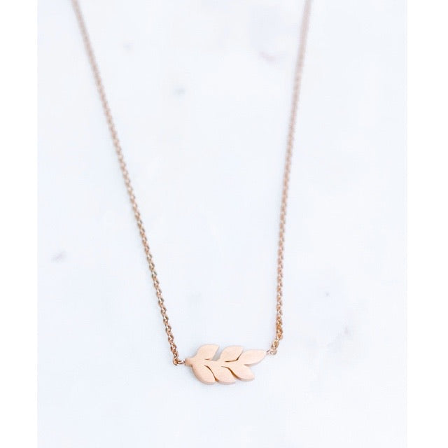 Stainless Steel Rose Gold Leaf Necklace