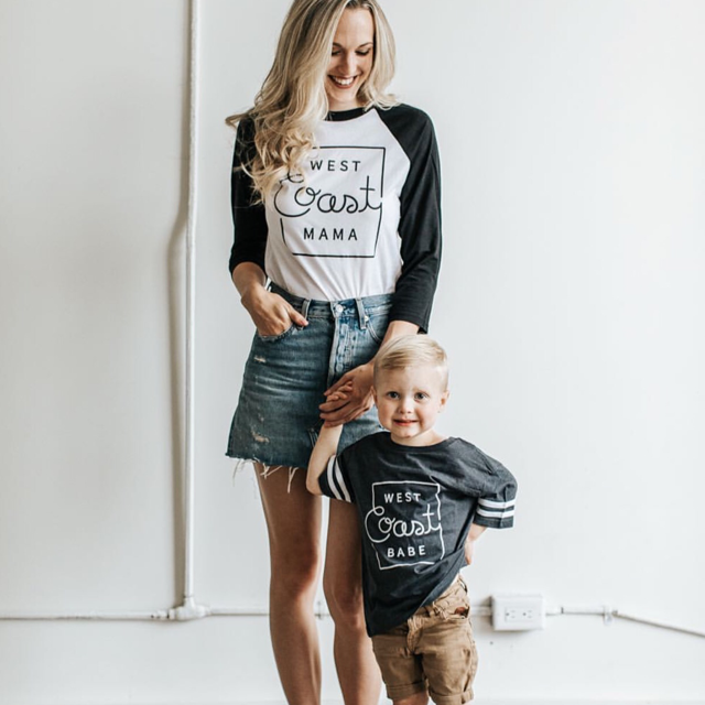 "2 PC Combo -  ""West Coast Mama"" Adult Raglan and ""West Coast Babe"" Child Football T-Shirt"