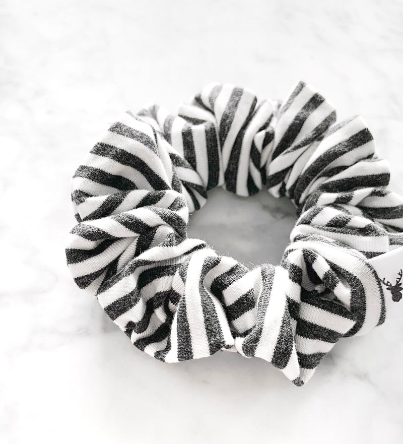 Charcoal and White Stripe Scrunchie