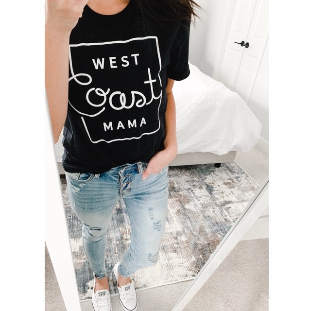 """West Coast Mama"" Black Heather Adult Ladies T-Shirt - Size Large"