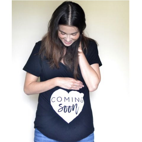 """Coming Soon"" Ladies Maternity Tee - Small Only"