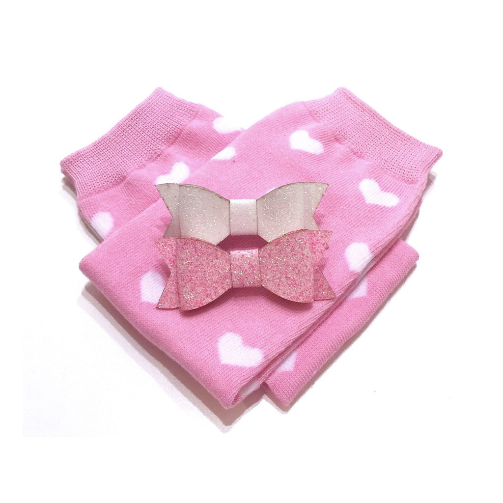 Pink/White Mini Heart Leg Warmers and 2 Glitter Bow Clip Set