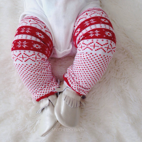 Red and White Christmas Leg Warmers