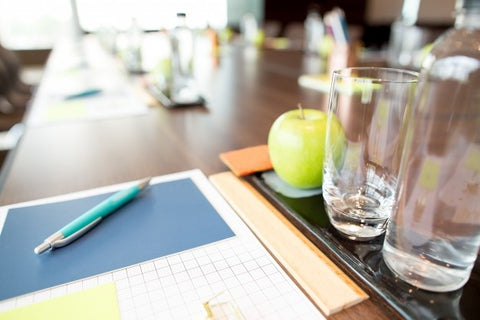 Water on office desk for hydration