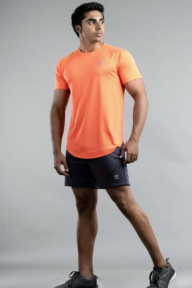 Light Weight Tail Hem Training T-Shirt Tangerine