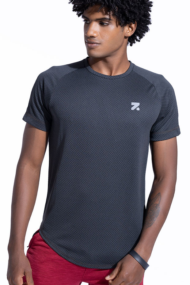Light Weight Tail Hem Training T-Shirt Charcoal