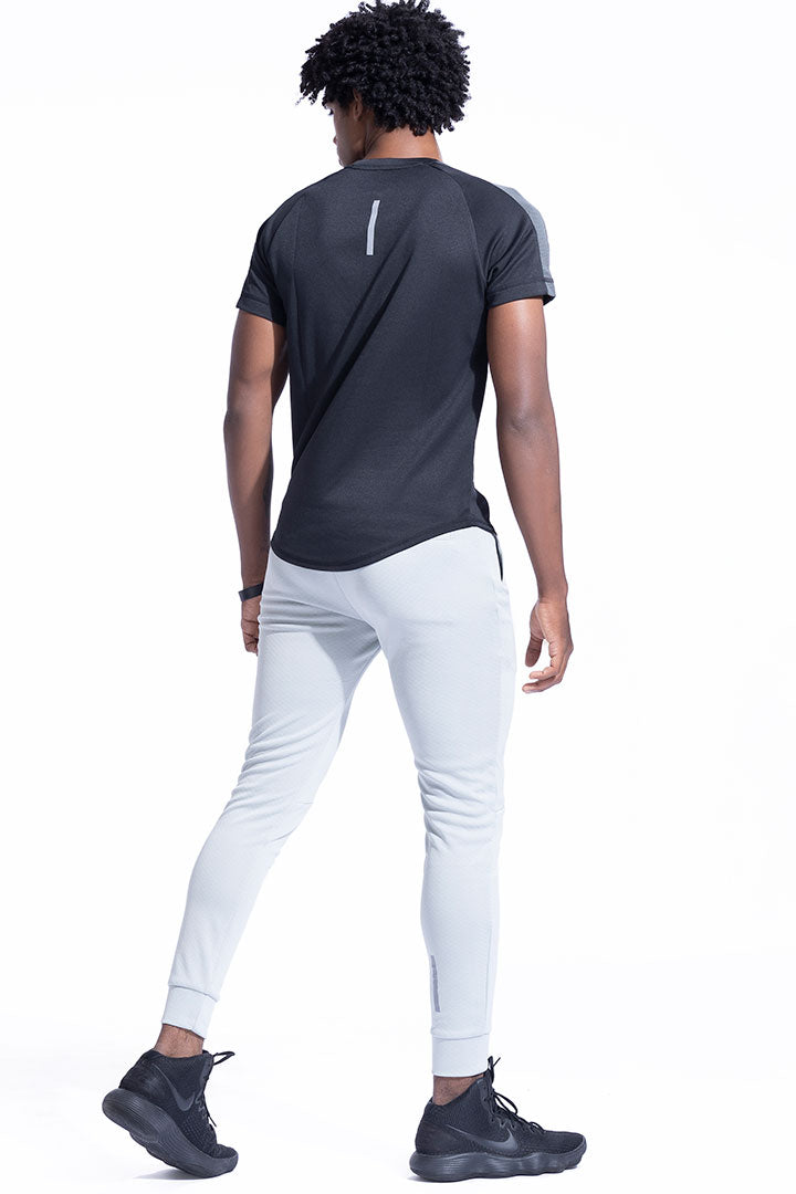 Charcoal Shoulder Panel Athleisure Shirt With Cotton Soft Touch