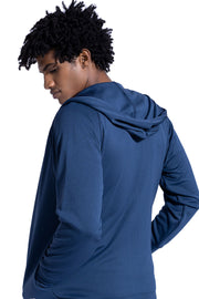 Insignia Blue Lightweight Hoodie With Zipper Pockets