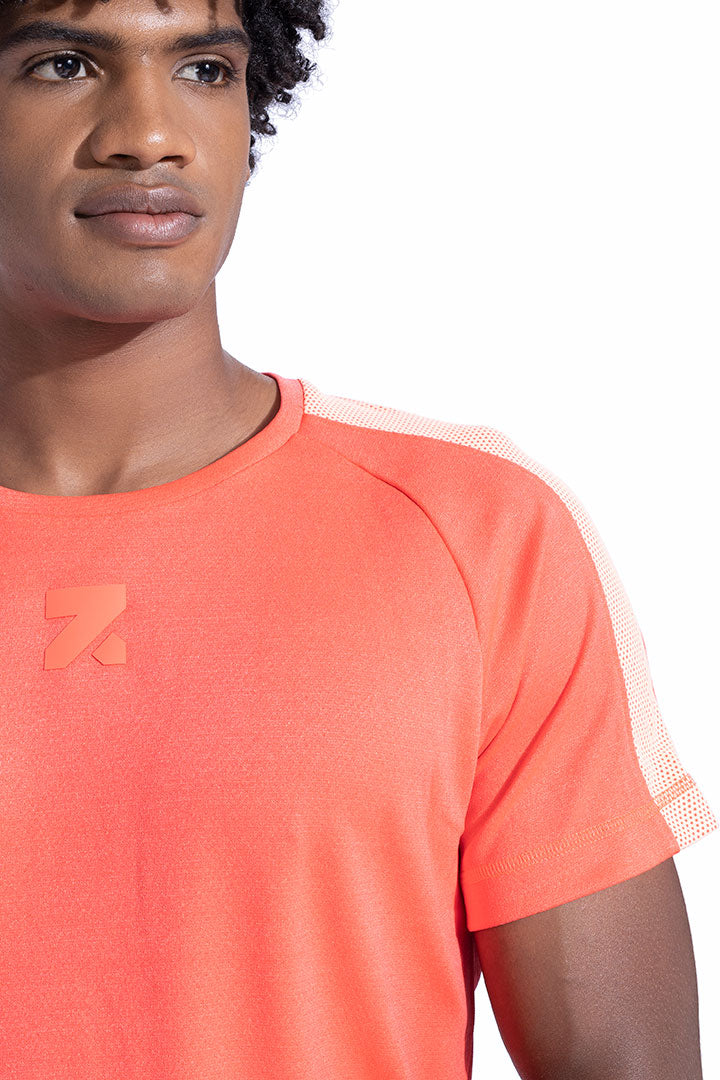 Neon Shoulder Panel Athleisure Shirt With Cotton Soft Touch