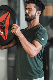 Park Green V Neck Training T-Shirt With Curve Hem