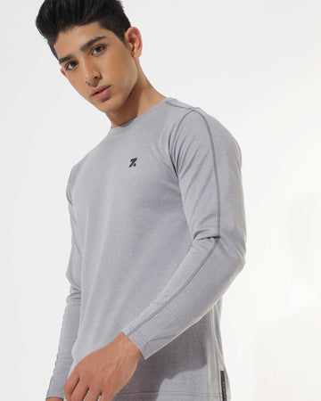 Zymrat grey performance wear full sleeve t-shirt