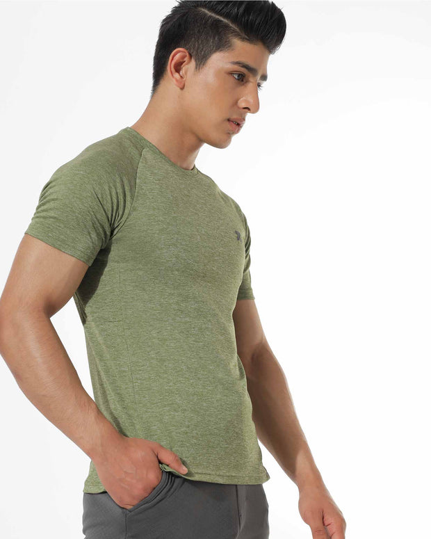 Zymrat green moisture wicking short sleeve t shirt