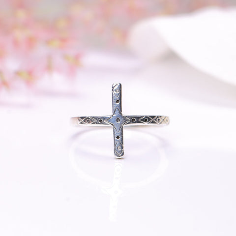 Silver Ring - Embellished Cross