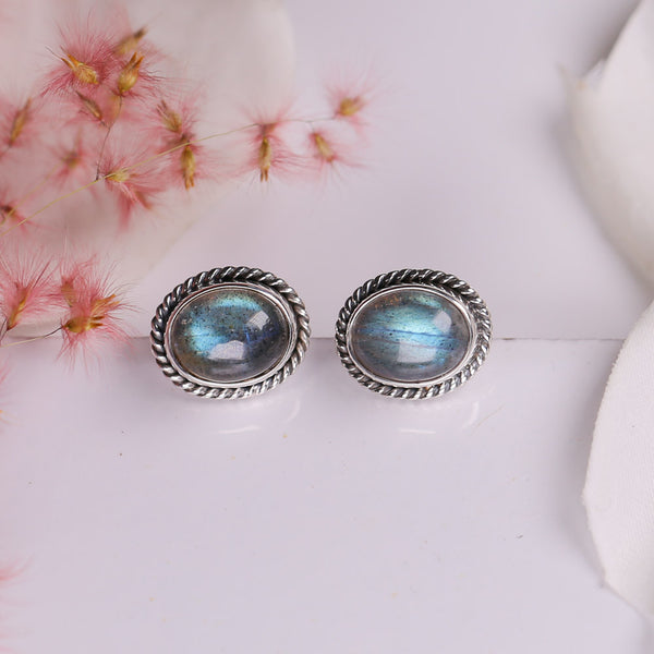 Labradorite Earrings - Vintage Oval Studs