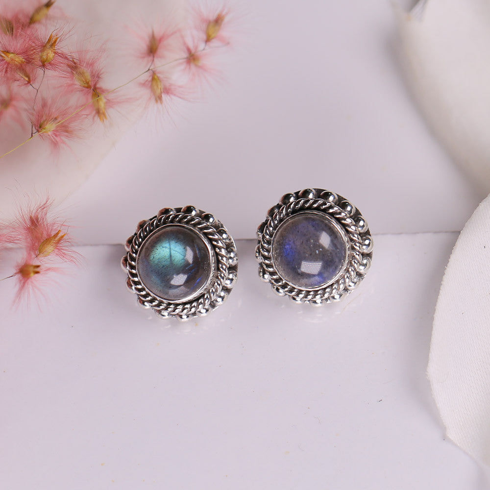 Labradorite Earrings - Aurora Studs