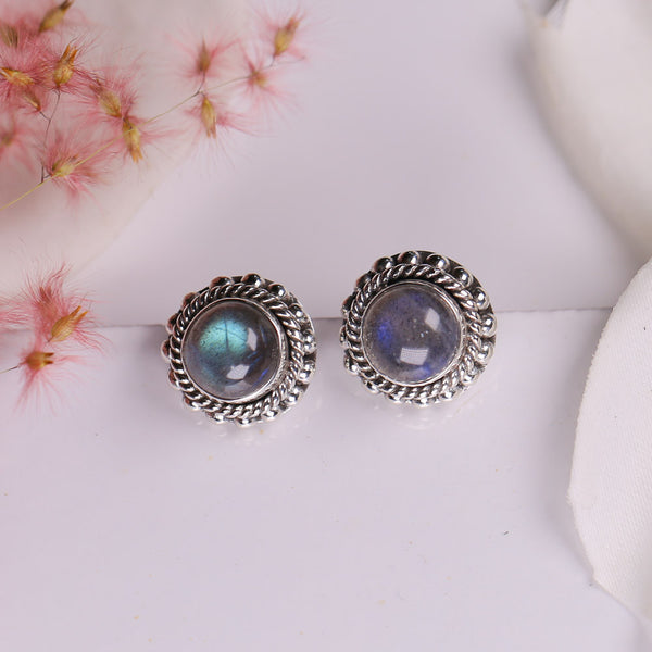Labradorite Earrings - Aura Studs