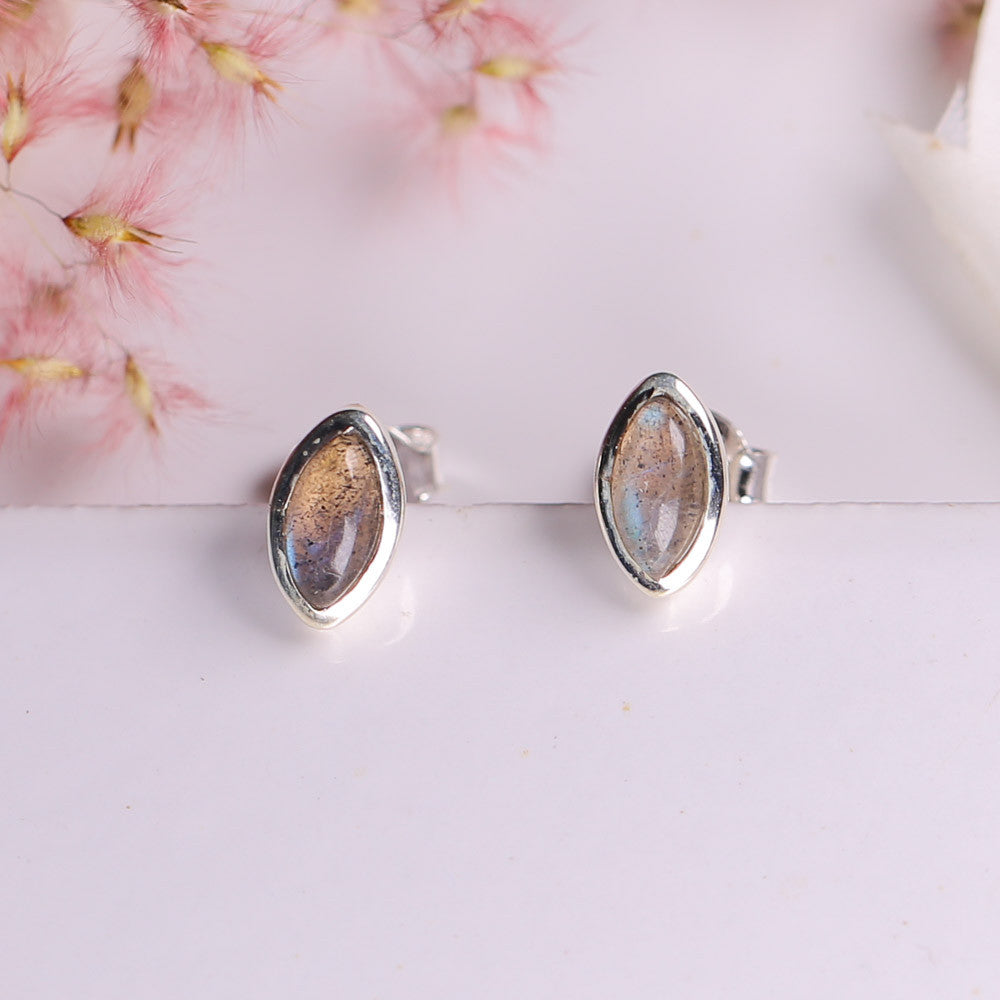Labradorite Earrings - Oval Aria Studs