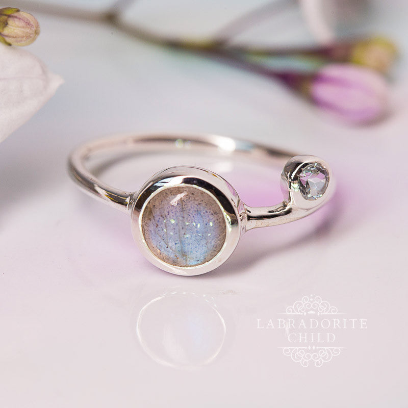 Labradorite Blue Topaz Ring - Cosmic Orbit