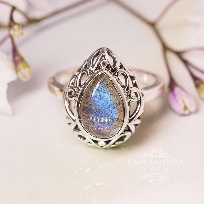 Labradorite Ring - Enchanted Teardrop