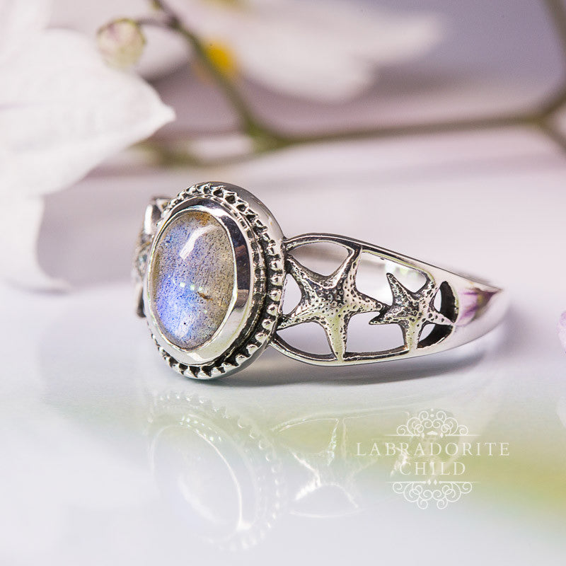 Labradorite Ring - Starfishes