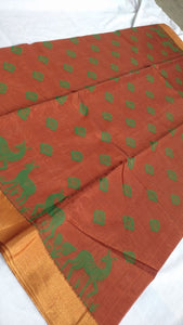 RUST COLOUR KOTA COTTON SAREES BRAND OF YV