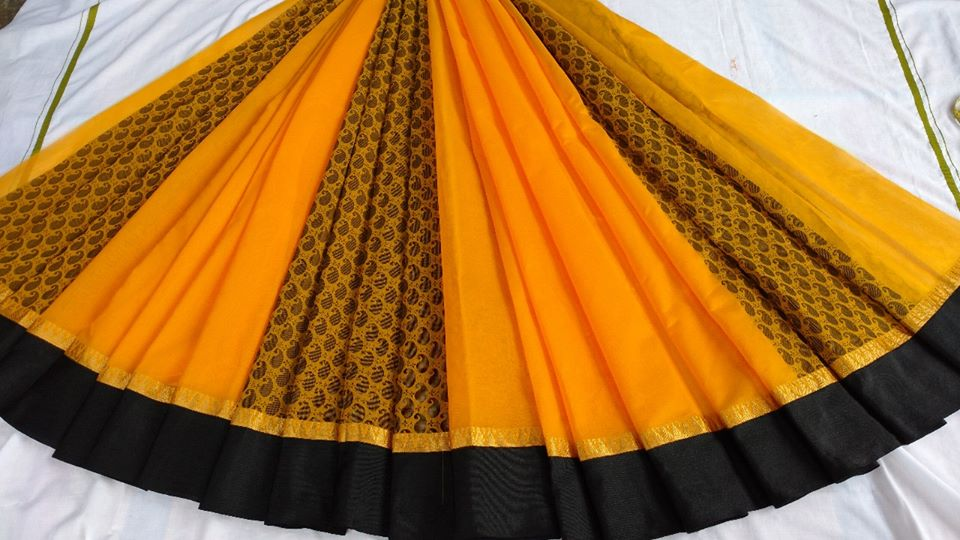 YELLOW AND BLACK COLOUR BLUE COTTON PARTLY SAREES BRAND OF YV