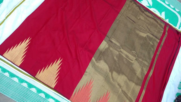 RED COLOUR TEMPLE PATTERN ART SILK SAREE OF YV BRAND