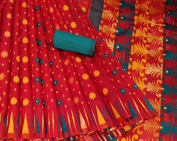 Red colour Venkatagiri Kora Silk cotton jacquard weaving Saree with border for stylish women