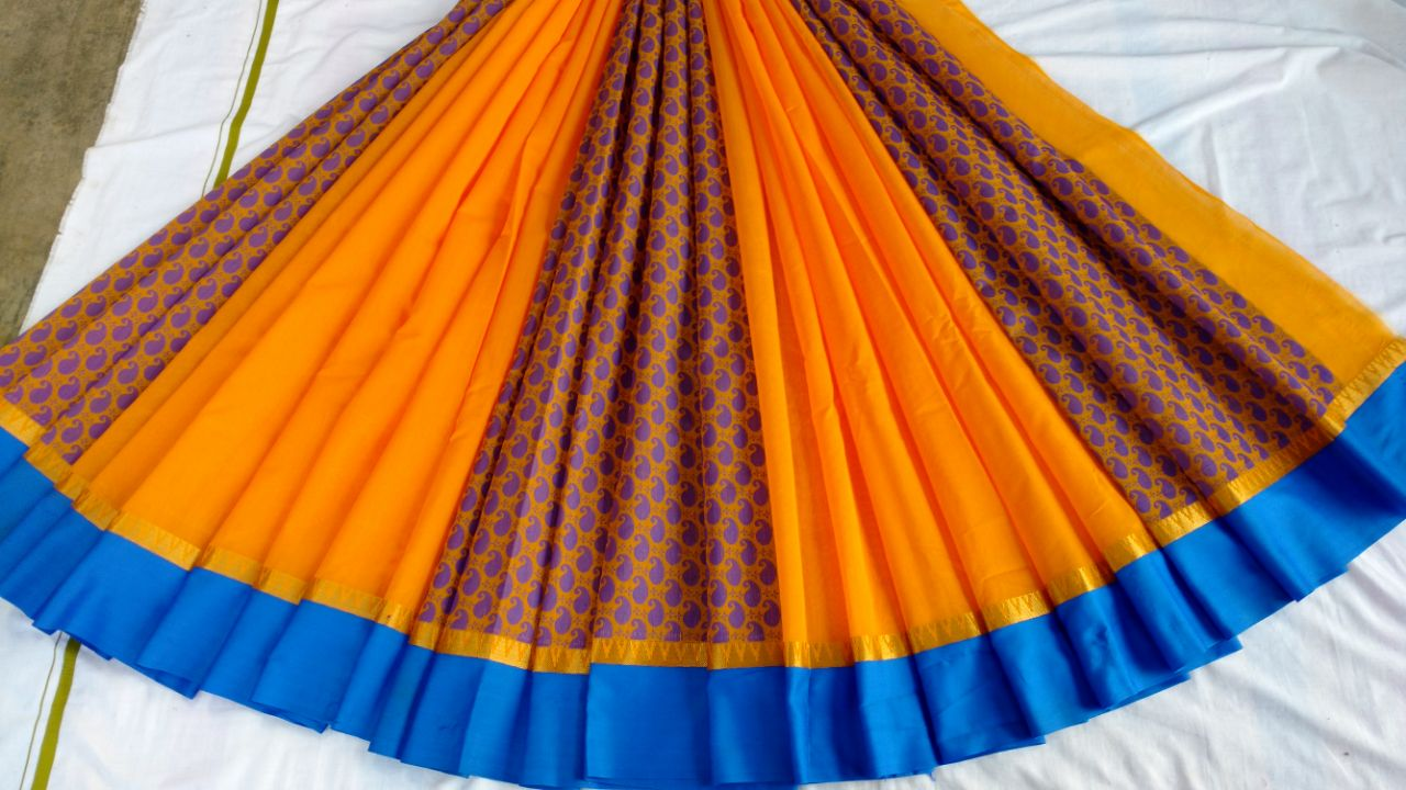 YELLOW COLOUR COTTON PARTLY SAREES BRAND OF YV - EBUNTY
