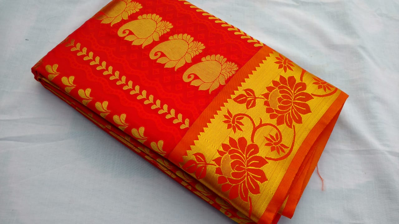 RED COLOR ART SILK SAREE BRAND OF YV - EBUNTY