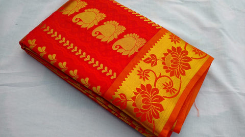 RED COLOR ART SILK SAREE BRAND OF YV