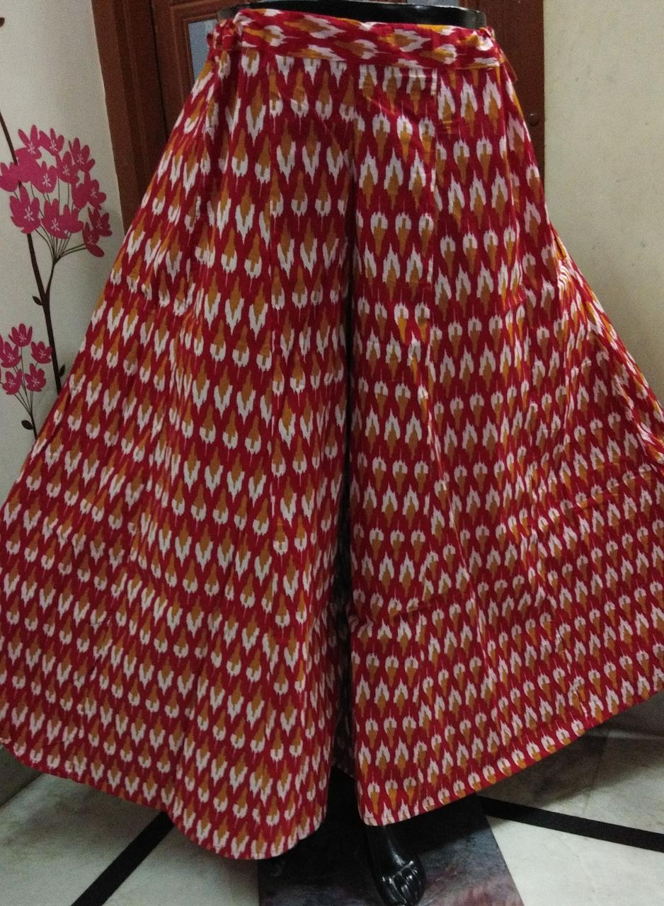 RBEAT THE HEAT WITH  RED COTTON DIVIDED SKIRTS  OFBYV
