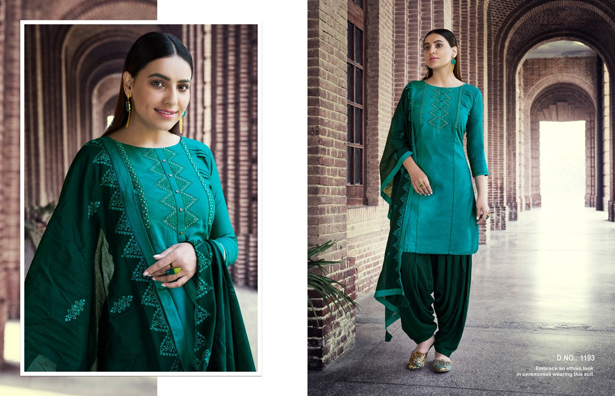 Beautiful embroidery cotton rayon Patiala ready to wear suit