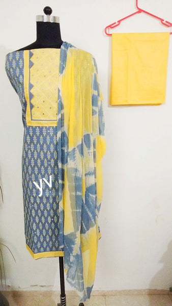 Cotton printed with patch work neck suit for all time - EBUNTY