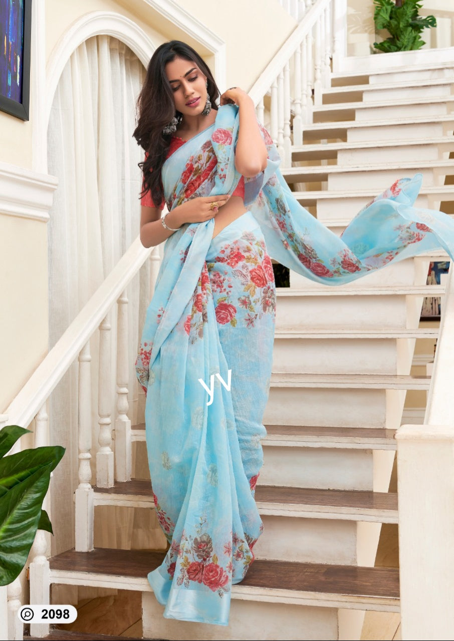 Super linen blue printed saree with blouse for special occasions