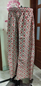 Red Cotton ready made palazzo with pocket for casually wear - EBUNTY